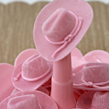 Vintage Pink Flocked Cowboy Hats - Party Favor/Craft Accessory