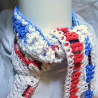 Patriotic Red White And Blue Scarf Hand Made From USA Cotton Yarn