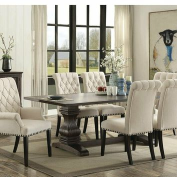 7 pc Parkins collection rustic espresso finish wood dining table with double trestle base