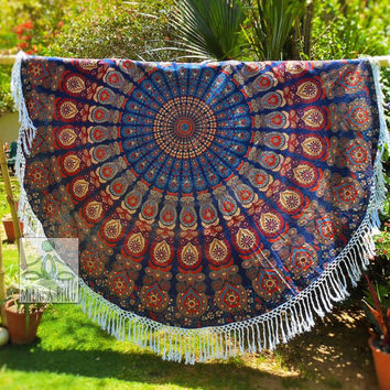 Multicolor Round Mandala Tablecloth, Kitchen decor, Table Decor, Garden Yoga Mat, Garden Decor, Round Beach Towel, Pure Cotton, Fringes 3063