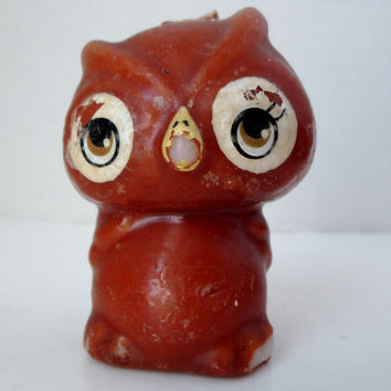 Vintage Owl Candle Cute Cartoon Style 1960's