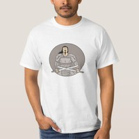 Angry Samurai Warrior Crossing Swords Oval Drawing T-Shirt