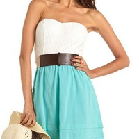 Belted Daisy Lace 2-Fer Dress: Charlotte Russe