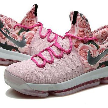 DCCKIJ2 Nike Men's Durant Zoom KD 9 Knit Mid-High Basketball Shoes Pink