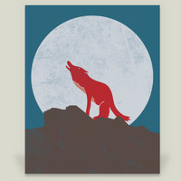 A Wolf In The Moon Art Print by welldesigned on BoomBoomPrints