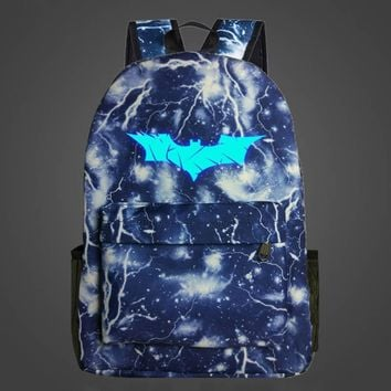 2017 Fashion Batman Luminous Backpack For Teenage Girls Boys School Backpacks Mochila Kids Best Gift Children School Bags