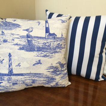 Set of Quilted Lighthouse pillows, Nautical Pillows