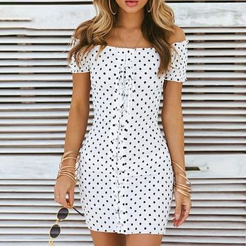 Lace Up Off Shoulder Bodycon Party Dress Short Solid Sexy Dress High Stree Women Dress