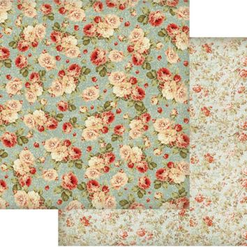 """Stamperia Double-Sided Cardstock 12""""X12""""-Floral Wallpaper On Turquoise Background"""