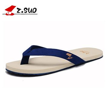 Z.SUO New Summer Men's Flip Flops Canvas Upper Rubber Sole Male Leisure Slippers Slip On Style Light Comfortable Sandals ZS1801