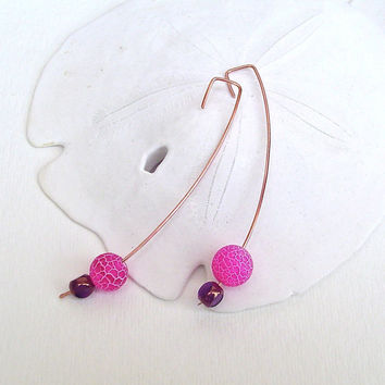 Pink And Copper Earrings by BrandonArtists