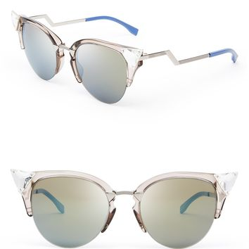 Fendi Crystal Embellished Mirrored Cat Eye Sunglasses