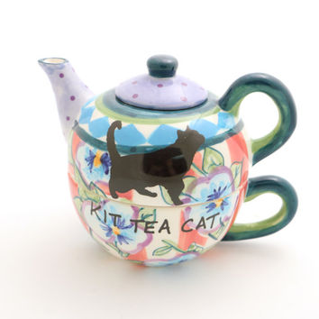 Teapot Cat Lover Kit Tea Cat - small teapot - pet lover - crazy cat lady - cat teapot - tea for one - whimsical teapot - gift for cat lover
