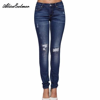 Alice & Elmer Hole Ripped Jeans Women Jeans Woman Jeans For Girls Stretch Mid Waist Skinny Jeans Female Pants