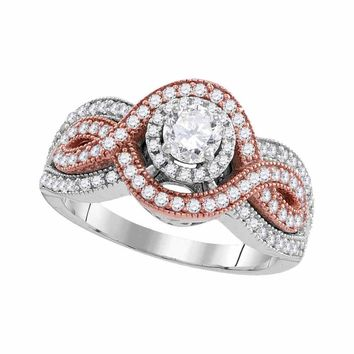 10kt White Rose-tone Gold Womens Round Diamond Solitaire Twist Bridal Wedding Engagement Ring 1.00 Cttw (Certified)