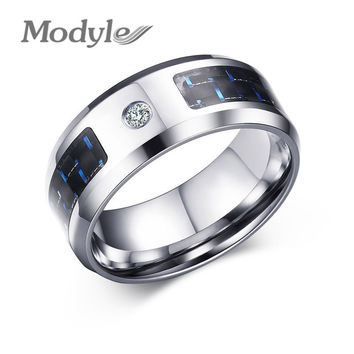 New Fashion  Men Cubic Zircon Ring Wedding Band Black and Blue Carbon Fiber