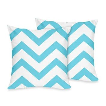 Sweet Jojo Designs Chevron Throw Pillows in Turquoise and White (Set of 2)