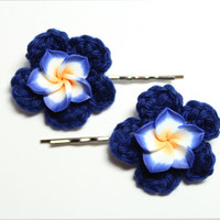 Blue plumeria bobby pins. Flower hair accessories. Blue crochet hair pins.