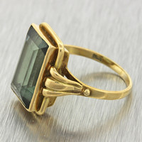 1930s Antique Art Deco Estate 14k Solid Yellow Gold Chunky Green Stone Ring
