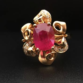 2.833ct+ 0.109ct 18K Gold Natural Ruby Women Ring with Diamond Setting 2016 New Fine Jewelry Wedding Band Engagement