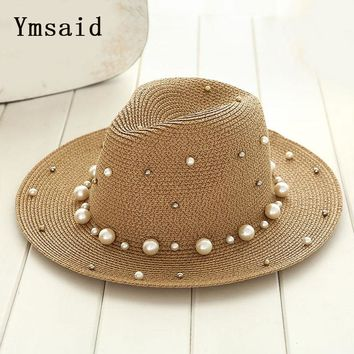 Ymsaid New Summer British pearl beading flat brimmed straw hat Shading sun hat Lady beach hat