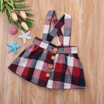 Red, White and Blue Plaid Suspenders Skirt