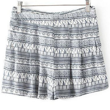 Grey Geometric Print Mini Shorts