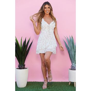 Once And Floral Ruffle Dress (Off White Mix)
