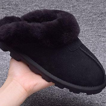 ESBON UGG Slipper Sheepskin Women Men Fashion Casual Wool Winter Snow Boots Black