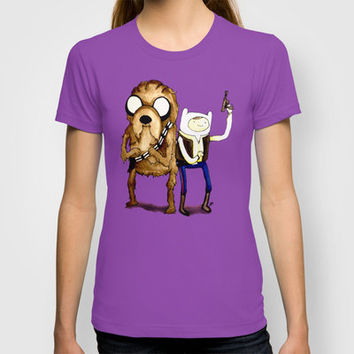 Space Adventure Time part 1 Han Solo Chewbacca Finn Jake watercolor www.justin13art.com T-shirt by Justinart13 | Society6