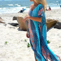 Women's Blue Pattern Sheer Chiffon Beach Bathing Suit Coverup