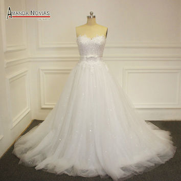 2016 New Strapless Wedding Dress With Shinny Tulle Real Photos