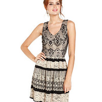 WishesWishesWishes Juniors Dress, Sleeveless Lace Printed A-Line - Juniors Dresses - Macy's