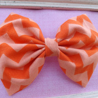 Orange dreamsicle chevron fabric bow headbands for babies, toddlers, teens, and adults.          ~FABRIC BOW DEPOT~