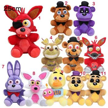 25cm EMS  Freddy Fazbear  Plush Toys  At  Golden Bear Nightmare Cupcake Foxy Balloon Boy Stuffed Dolls