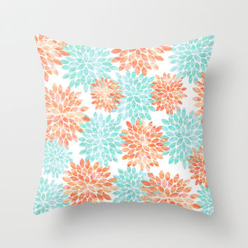 aqua and coral flowers Throw Pillow by Sylvia Cook Photography
