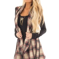 Taupe Plaid Open Flowy Vest with Waist Tie