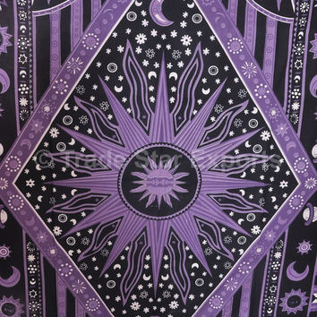 Boho Celestial Purple Tapestry,Psychedelic Indian Wall Hanging, Bohemian Wall Tapestries, Sun Moon Stars Gypsy Decor, Hippie Bedding Twin