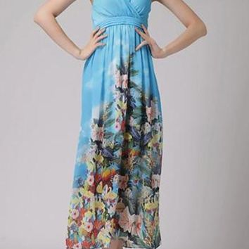 Empire Waist Bohemian Style Maxi Dress  Yellow And Blue Floral