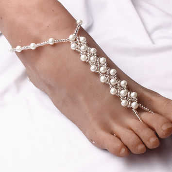 Pearl Beads Barefoot Sandals