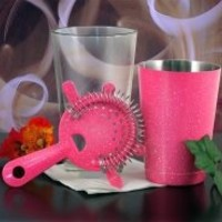 Cool Bar Stuff -  Glitter Neon Pink Four Prong Strainer