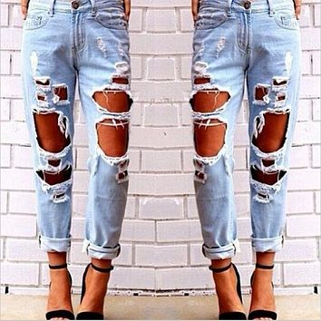 Ripped Jeans For Women Hollow Out Loose Jeans Woman Jeans Female Destroyed Distressed Boyfriend Jeans