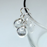 Iridescent silver fine glitter blown glass silver earrings