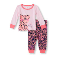 Baby Girls Long Sleeve 'Mommy's Pretty Kitty' Leopard Top And Leopard Print Pants PJ Set | The Children's Place