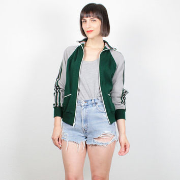 Vintage 1970s Track Jacket Hunter Green Gray Burgundy Striped Zip Up Athletic Jacket Tracksuit Warm Up 70s Skinny Hipster Jacket S Small M
