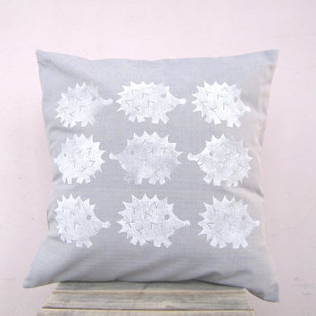 SALE Woodland decorative pillow, hedgehogs white on powder blue - eco friendly cotton, nursery decor cushion cover
