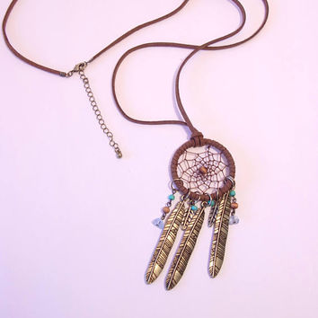 Beaded Suede Dreamcatcher Necklace Native American Style Boho Jewelry Southwestern Fashion Accessories