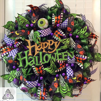 Happy Halloween Ruffle Deco Mesh Wreath