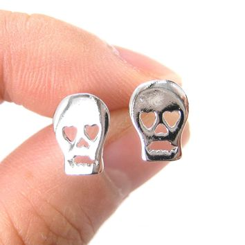 Skull Shaped Skeleton with Heart Shaped Eyes Stud Earrings in Silver