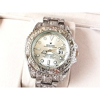 Rolex Tide brand carved men and women personality personality wild quartz watch white